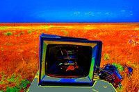 BROKEN TV AND FLAT FIELD (SOLARIZED) (Rt 66 nr Adrian TX)