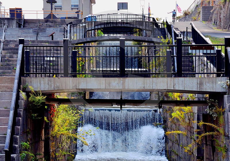 SPILLWAY, RIDER & FLAG (Erie Canal Lockport NY)