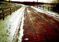 BRICK PAVEMENT & FENCES IN SNOW (National Road OH)
