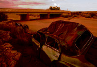 WRECKS IN DRY WASH (Rt 66 nr Painted Desert AZ)