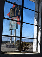 ROY'S SIGN FROM INSIDE (Rt 66 Amboy CA)