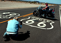 TWO BIKERS, TWO SHIELDS (Rt 66 Amboy CA)