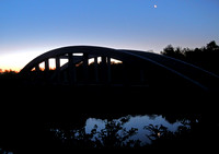 MARSH ARCH BRIDGE & MOON, NEAR DAWN  (Rt 66 nr Baxter Springs KS)