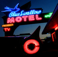 FIN ('57 T-BIRD) AND BLUE SWALLOW SIGN (Rt 66 Tucumcari NM)
