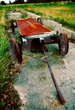 ABANDONED WAGON ON ORIGINAL CONCRETE (National Road IL)