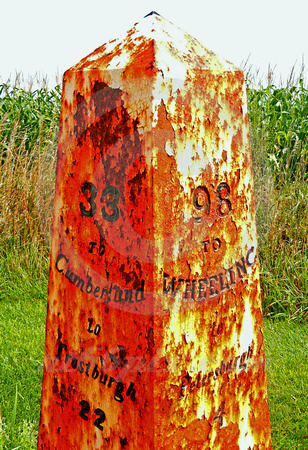 RUSTING MILE MARKER AFTER RAIN (National Road Western MD)