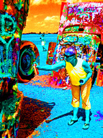 WOMAN WITH SPRAY PAINT (SOLARIZED) (Rt 66 Cadillac Ranch TX)