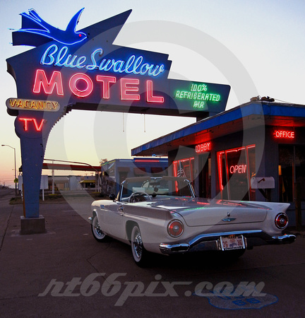 T-BIRD ('57) AND BLUE SWALLOW SIGN AT SUNSET (Rt 66 Tucumcari NM)